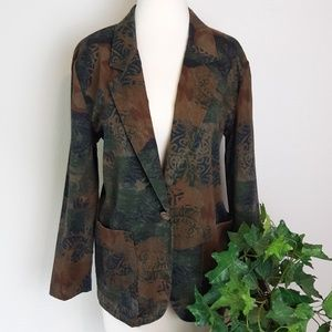 Tofy Vintage Floral One-Button Deep Pocket Blazer